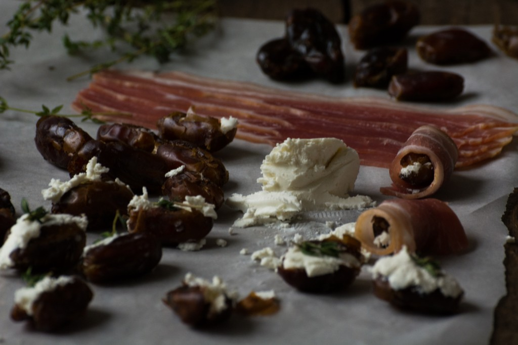 Goat cheese stuffed dates wraped in bacon