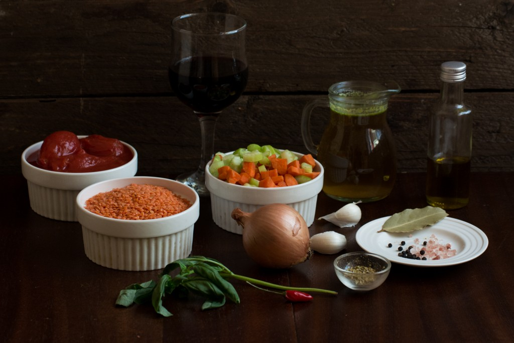 Lentils ragu - ingredients