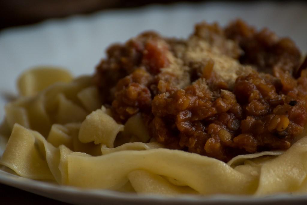 Lentils & tagliatelle