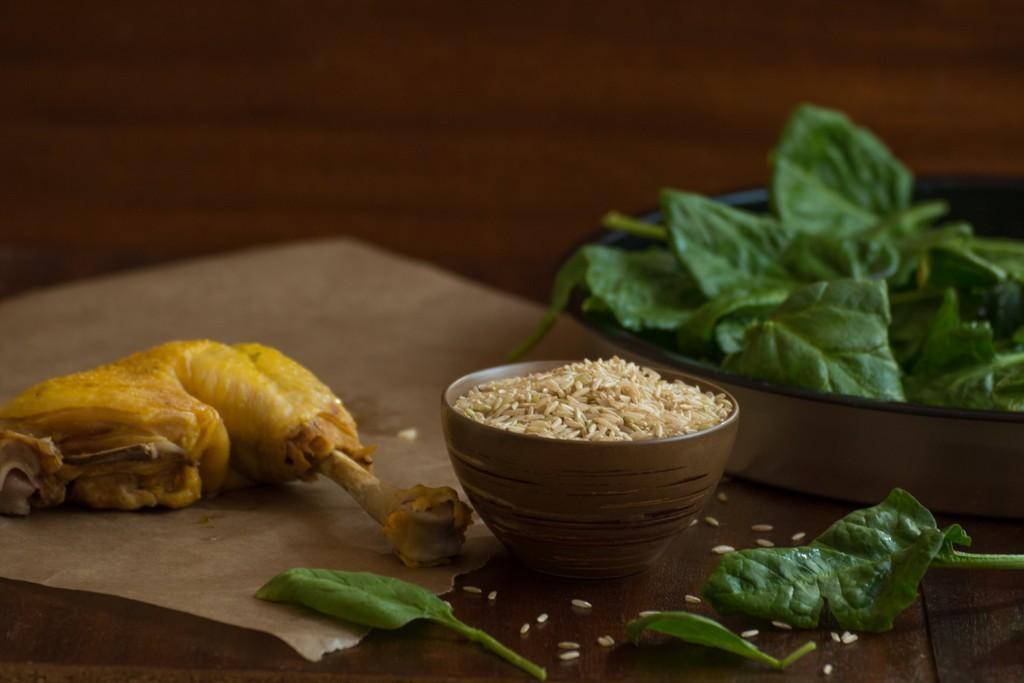 Chicken, spinach, brown rice