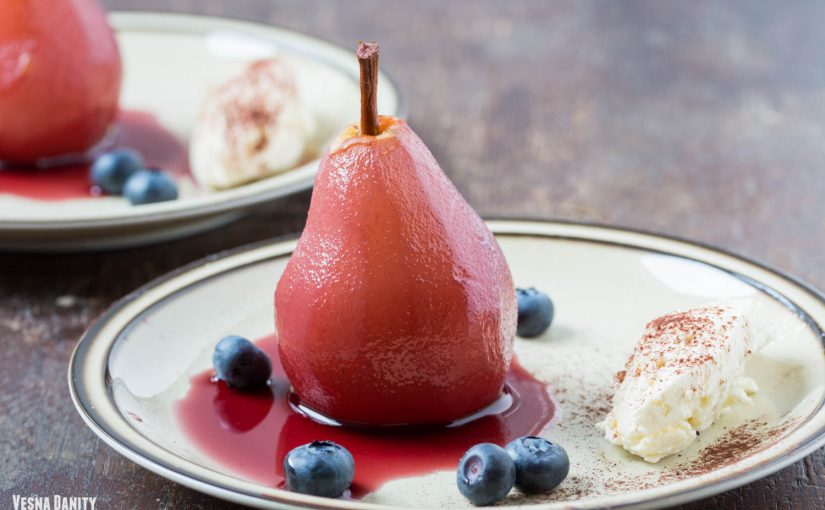 Red Wine – Poached Pears Served with Mascarpone Orange Blossom Cream