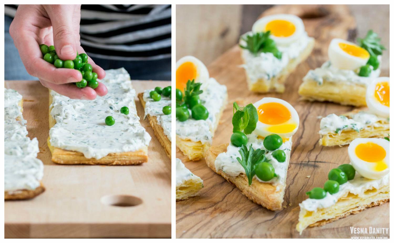 Triunghiuri cu cremă de brânză de capră, mazăre și ouă de prepeliță
