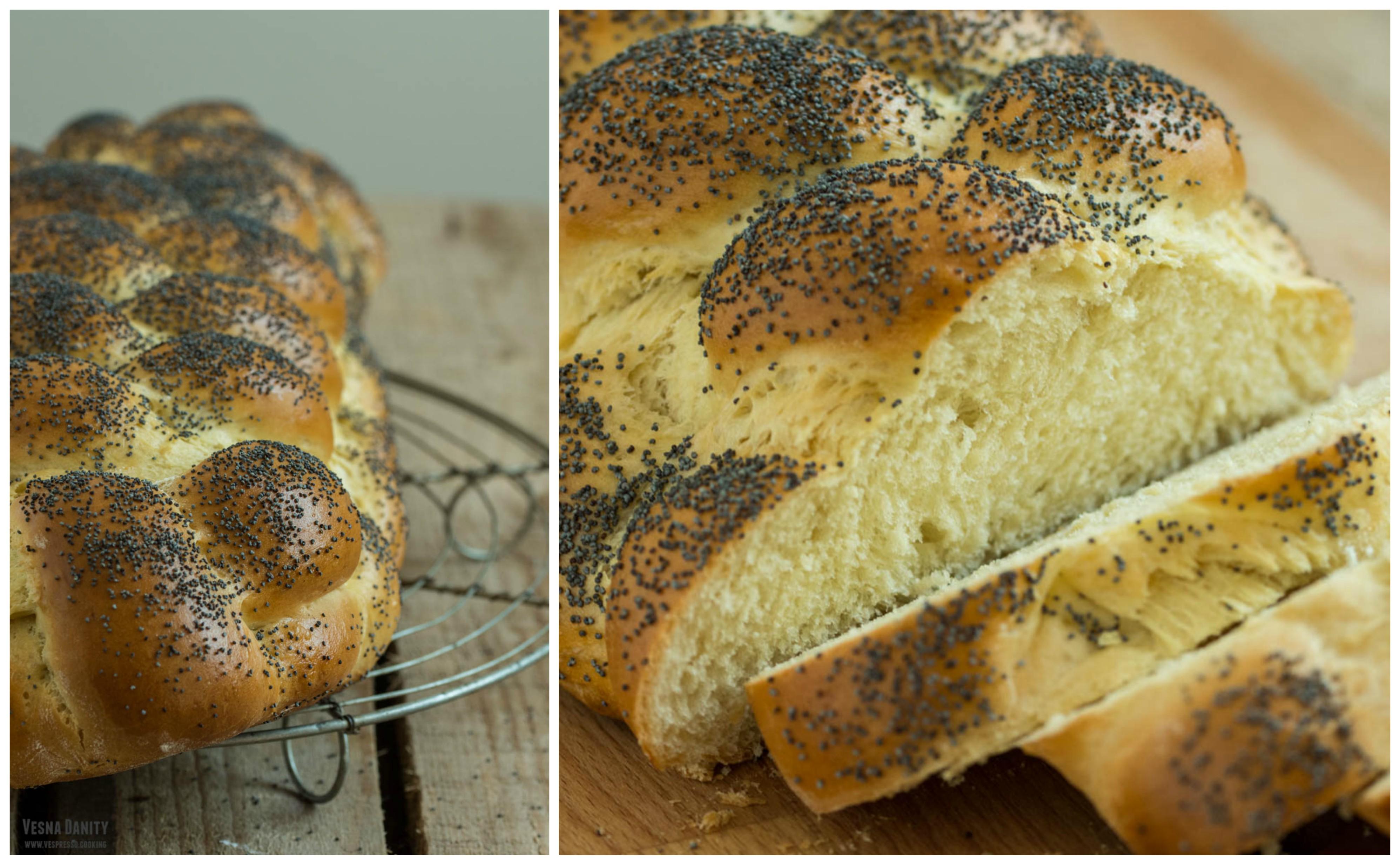 Pâine Challah împletită în 6