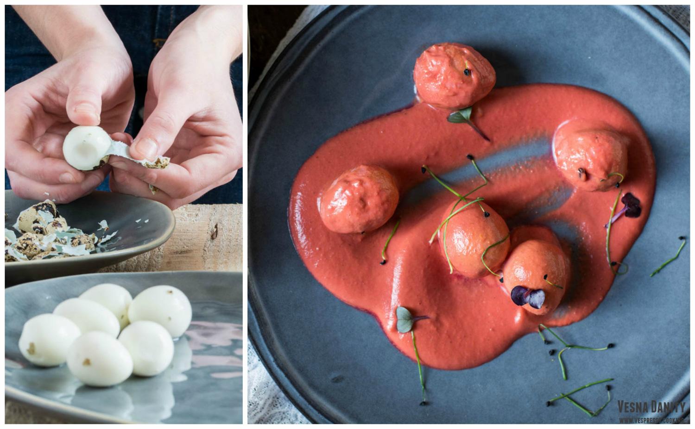 Curry de ouă de prepeliță cu unt și sfeclă