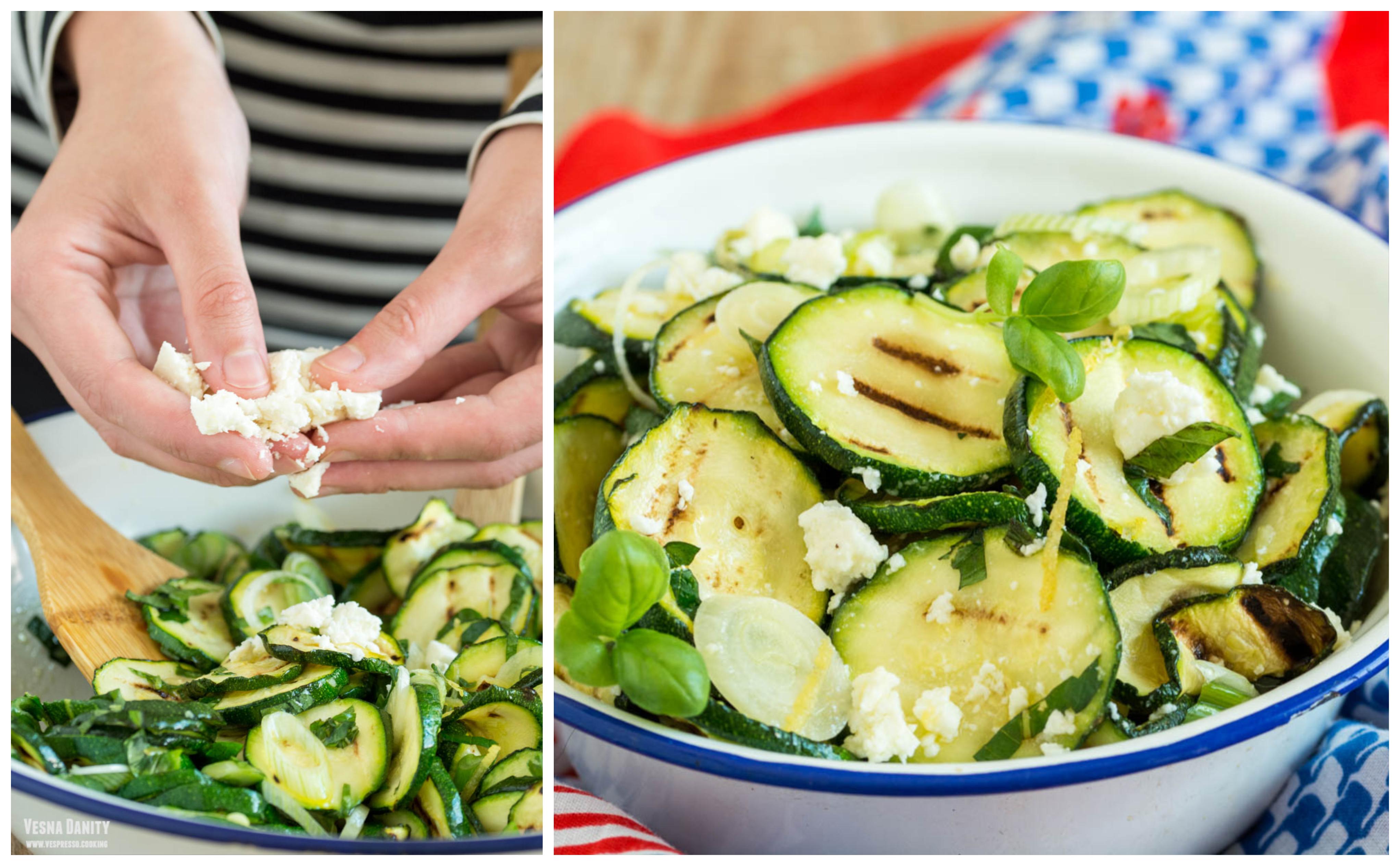 Salată de zucchini la grătar cu ceapă verde și telemea