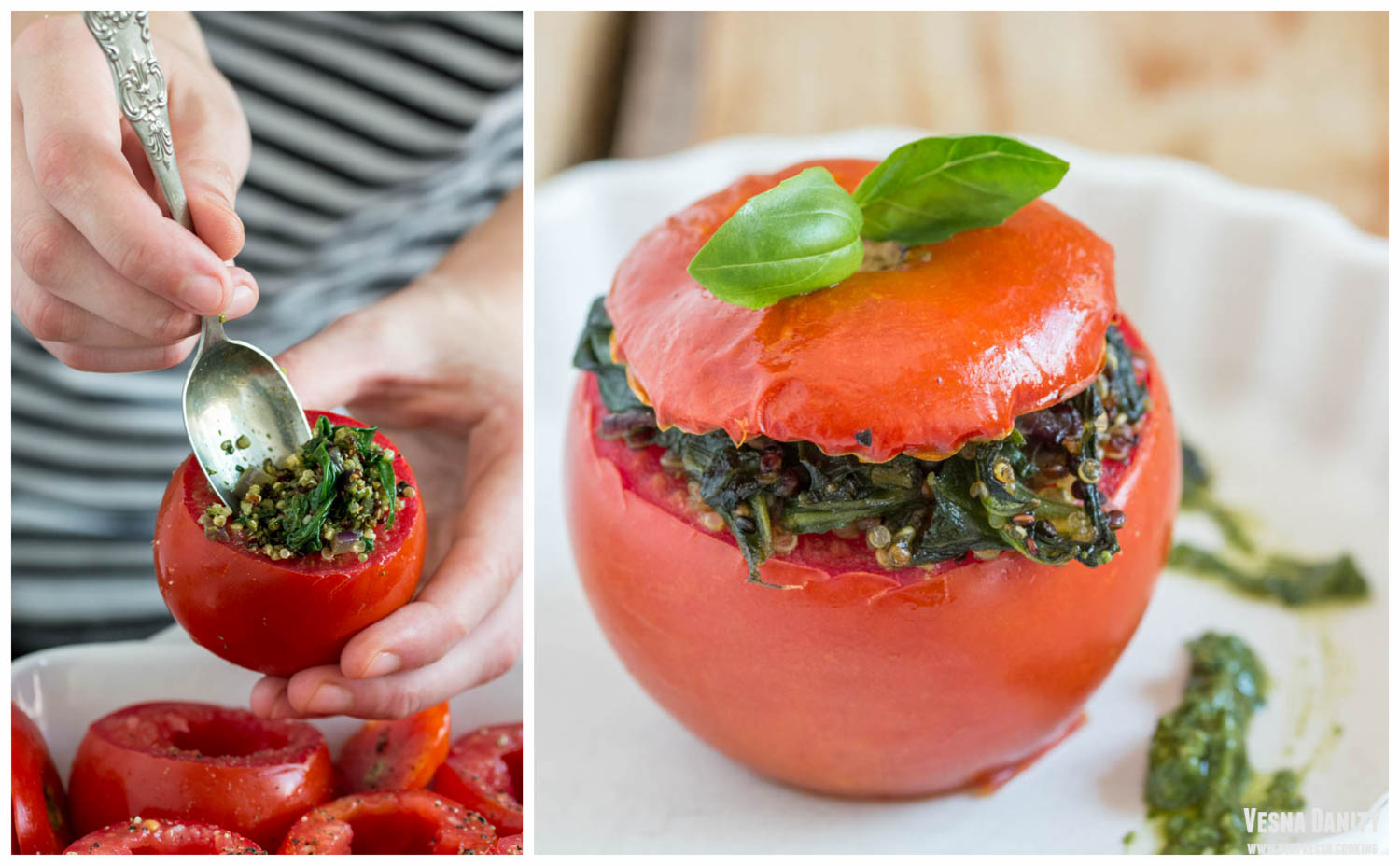 Quinoa and Spinach Stuffed Tomato (Vegan)