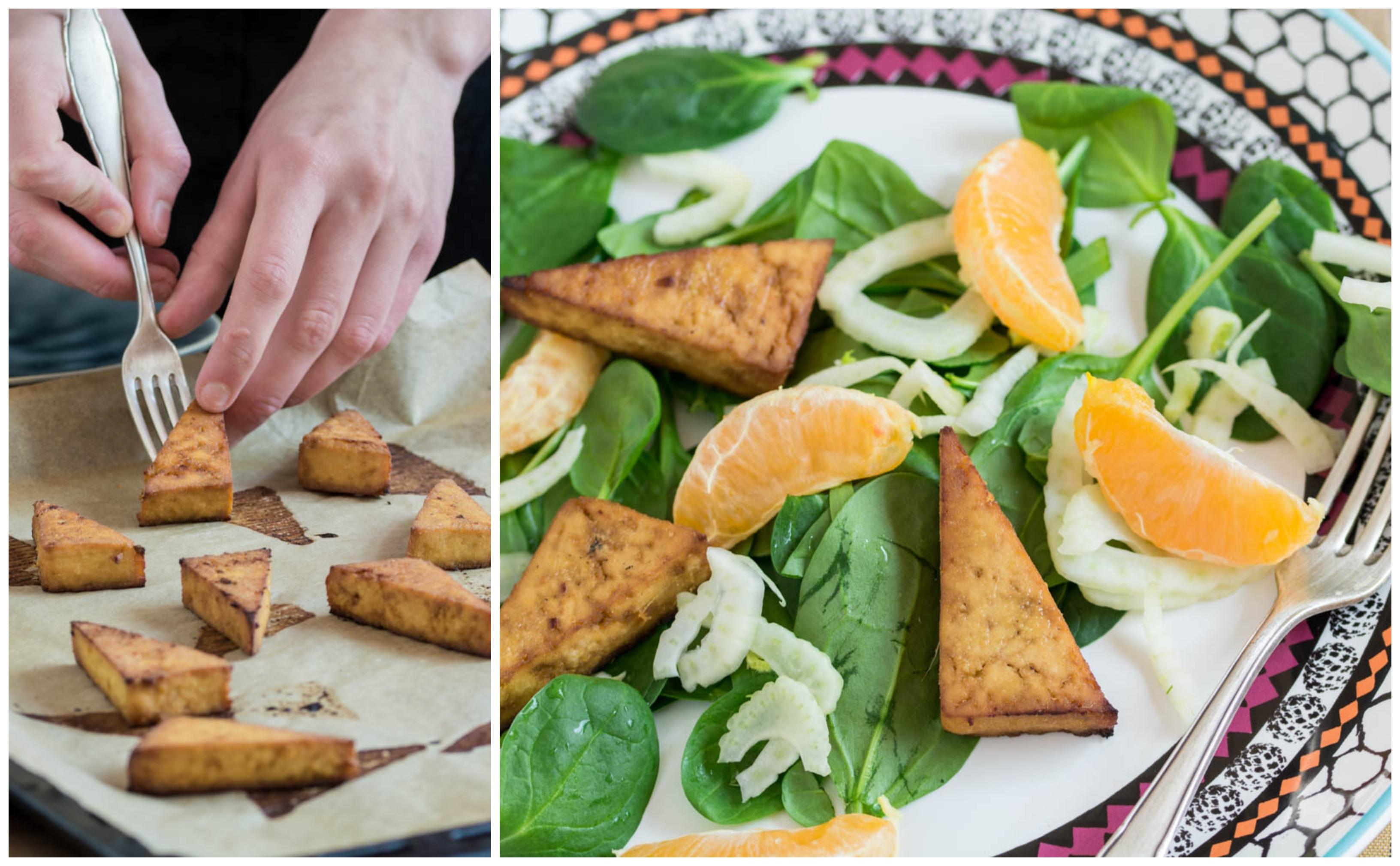 Salată de spanac cu tofu, fenicul și mandarine